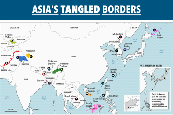 Maps shows the border disputes that could tear Asia apart