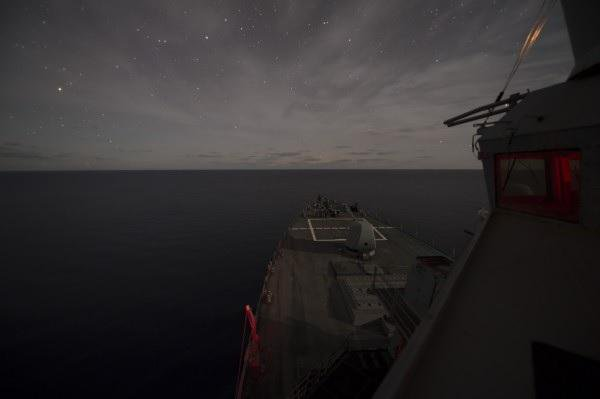 Arleigh Burke-class guided missile destroyer USS Ross trains with Romanian navy in Black Sea.