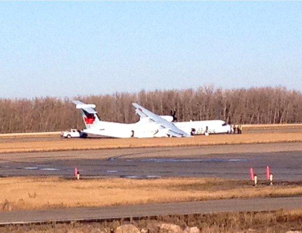 AC express still on runway yeg airport. Emerg landing. Tire blew on takeoff from YYC