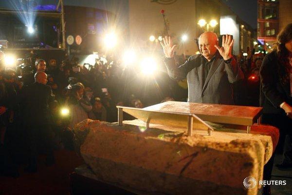 Former Soviet President Mikhail Gorbachev visits the former Berlin Wall border