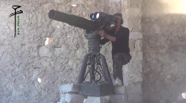 US-supplied FSA group Harakat Hazm destroy a regime warplane in Aleppo today.