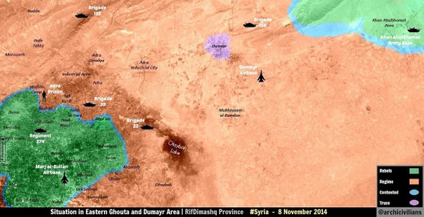 Map: Situation in Eastern Ghouta & Dumayr Area - Rebels announced new battle to break the siege