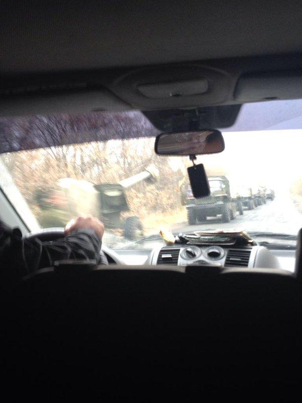 Military convoy on the road from Makiivka to Donetsk