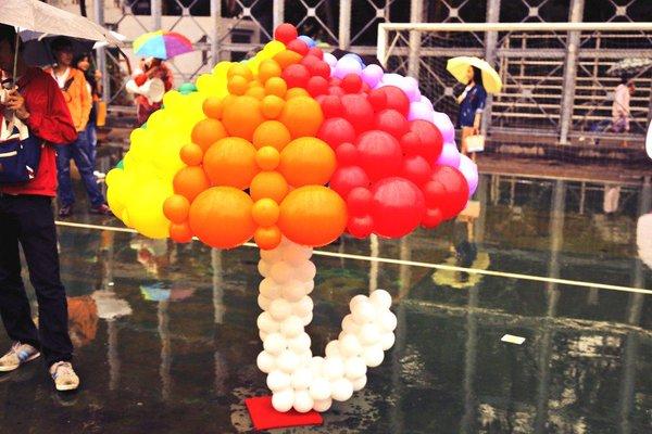 Rainbow umbrella at gay-parade in Hong Kong