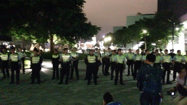 Now police form a line at Tamar Park