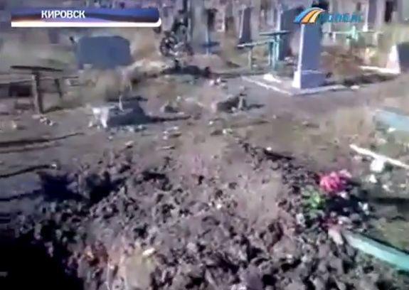 LNR Shelled cemetery in Kirovsk