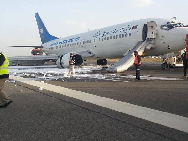 Ariana Afghan Boeing 737-400 gear failure on landing at Kabul