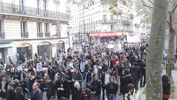 Today's demonstration in Paris against police brutality