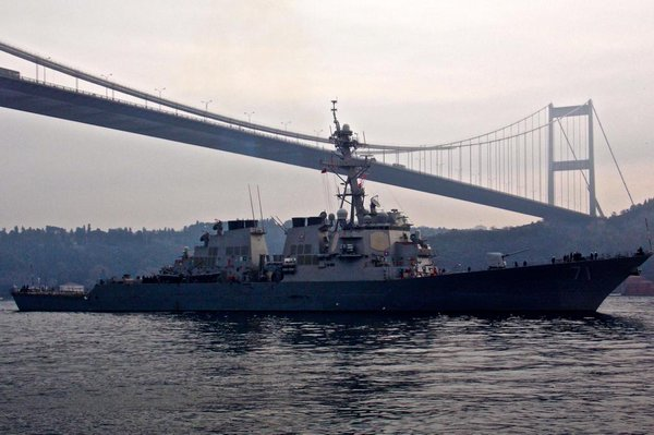 Arleigh Burke-class guided missile destroyer USS Ross DDG71 transits the Bosphorus