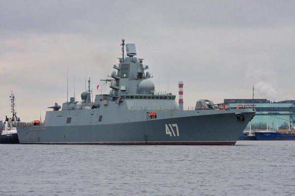 Russian Navy Admiral Gorshkov-class frigate «Admiral Gorshkov» seen in Saint Petersburg