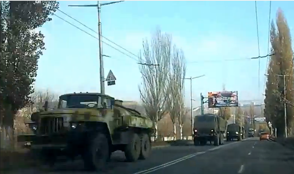 Russia Convoy approximate 20 vehicles enter Donetsk with GRAD launchers
