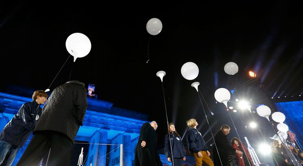 Balloons fill the night sky as Germany remembers the fall of the BerlinWall 25 years ago today