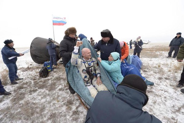 .@Astro_Alex has touched down after over 150 days at the ISS. He looks a little dazed, but happy to be back!