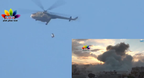 Asad helicopter bombs Aleppo