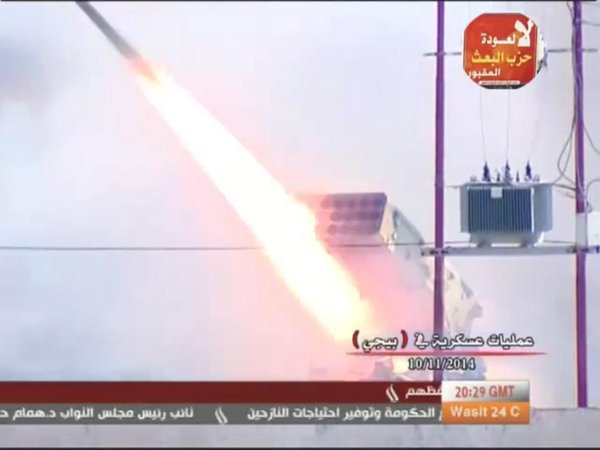 First combat deployment of the Iraqi Army's new TOS-1A thermobaric MRL in an urban area, hitting central Bayji