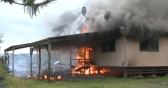 Lava engulfs the first house in Hawaii