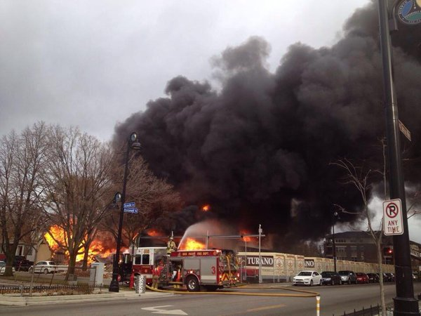 Large Fire And Multiple Explosions in Oak Park, Illinois