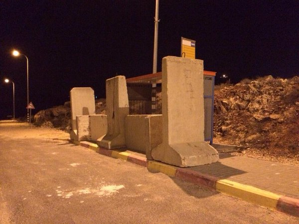 Cement barricade set up at bus stop where Terrorist ran over & stabbed multiple people yesterday