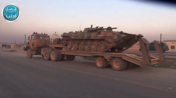 A heavy JabhatAnNusra army column moves in Idlib province to fight vs. Assad in  Hama