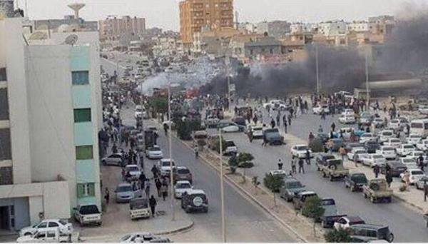 Bomb explosion in Tobruk Libya on busiest road where intelligence HQ is located and parliament.