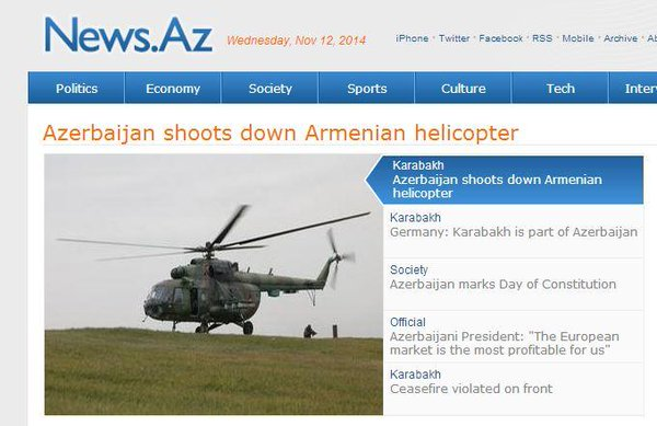 After Azerbaijan shot down Armenian combat helicopter -Battles with automatic weapons