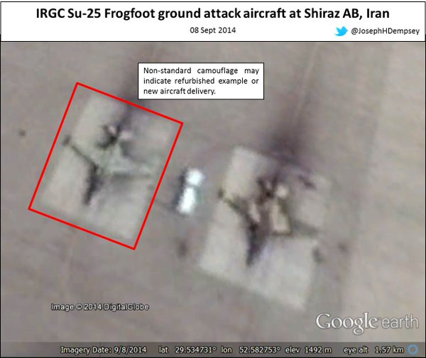 GE Sept imagery of Shiraz AB Iran shows not all IRGC Su-25 went to/remain in Iraq Note non standard camo example