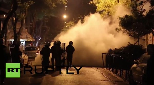 Greece police used tear gas against protest of students