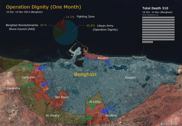 1 month since the fighting started in Benghazi . Total death 310. Army control more than 65%.