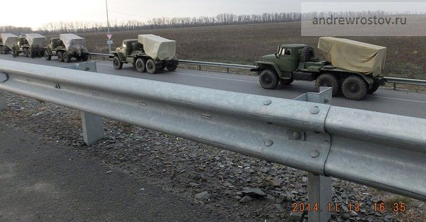 Trucks w tarp-covered Grads, no license, no marks, no escorts, Hwy M4 at Shchepkino-Taganrih