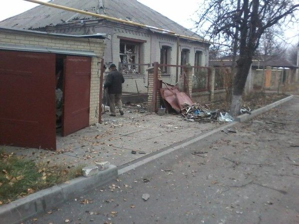 Donetsk after shelling. Civil house was hit