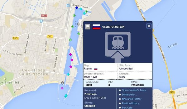The first helicopter carrier Mistral in the international system AIS came under the flag of Russia