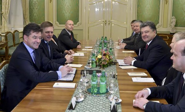 Meeting of the President of Ukraine Petro Poroshenko with the Prime Minister of the Slovak Republic Robert Fico started