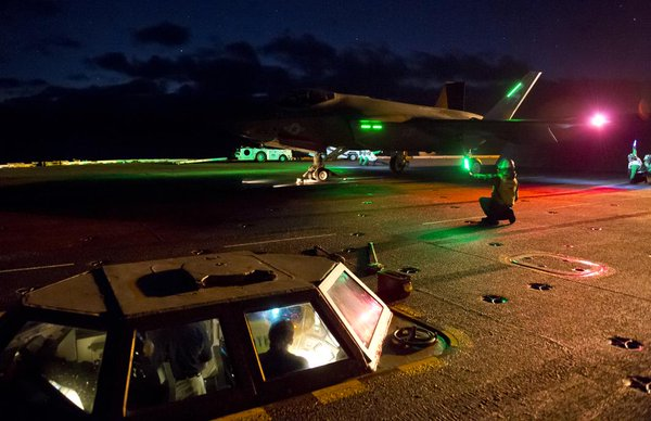 F-35C Lightning II (carrier variant) JSF conducts first carrier-based night flight ops aboard USS Nimitz.
