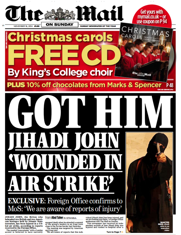 SIS executioner Jihadi John reportedly wounded in air strike.
