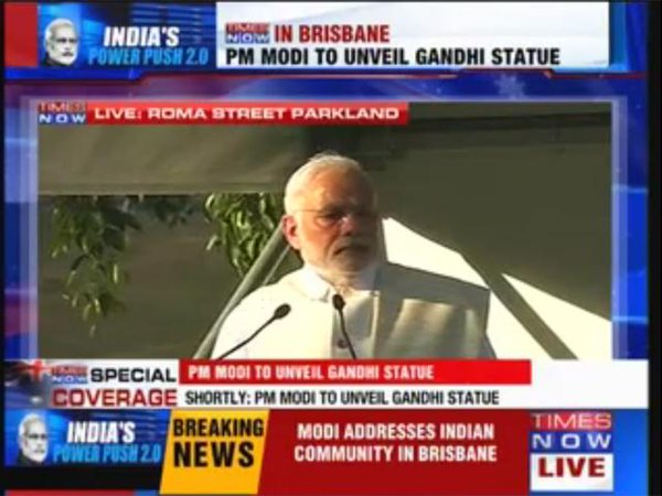 PM Modi addresses people gathered at Roma Street Parkland.