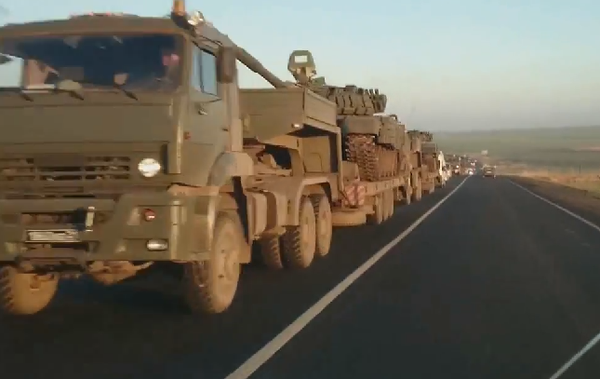 A Russian army convoy transports fresh T-72B1 from Rostov to the Ukrainian  border