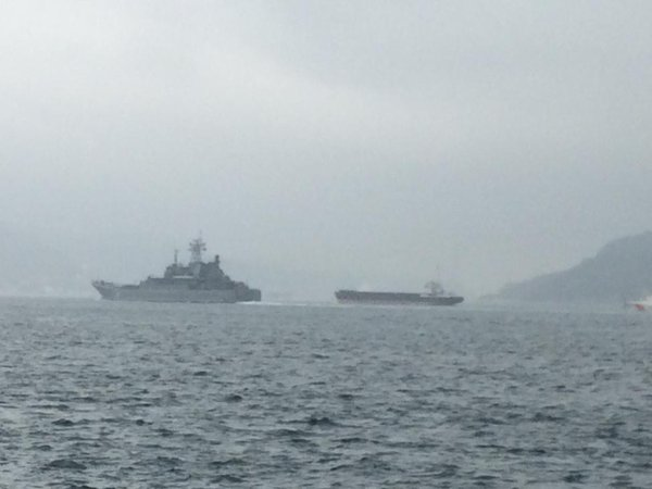 Project 775, RFS Novocherkassk 142 is on the Bosphorus, back from Syrla, overtaking merchant traffic before BlackSea