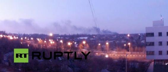 Donetsk airport. Smoke still goes