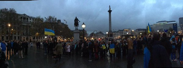 Ukrainians about to march around Trafalgar Square, London in remembrance of the fallen of the Ukrainian military