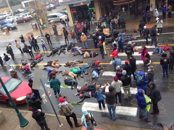 Protesters Stage 'Die In' 100 Days After Michael Brown Shooting Ferguson