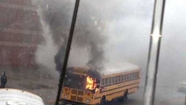 No injuries were reported after a bus caught on fire at Mt. Juliet H.S. Monday morning