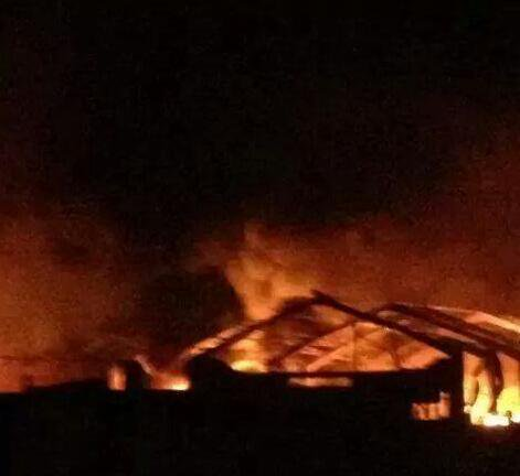 USA bombarded Nineveh today and Mosul in particular. Photo of cotton warehouse as IS says, by airstrikes. Iraq.