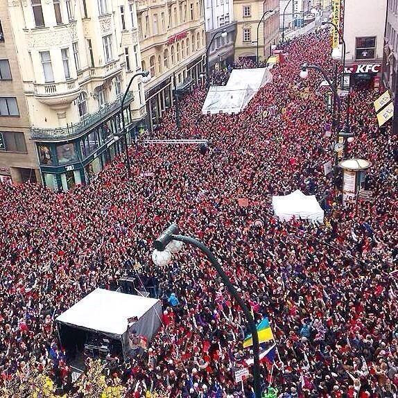 Prague today. redcardforZeman