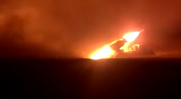 Ukraine army fires massive MRLS attack on Russian positions.