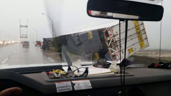 Overturned truck on the Dames Point Bridge