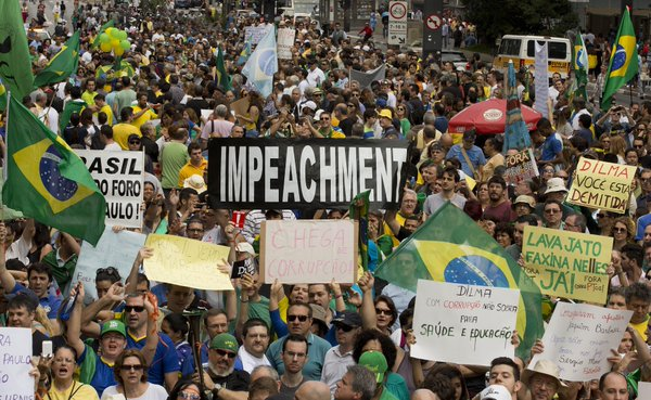Protesters called Brazilian President Rousseff's impeachment in  São Paulo on Saturday
