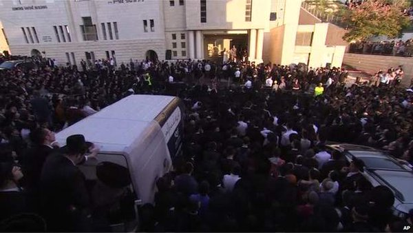 Many people have turned up to pay their respects to Rabbi Moshe Twersky, whose funeral is currently under way.