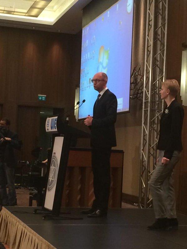 @Yatsenyuk_AP speaking at Ukrainian Jewish Encounter celebration in Kyiv. Rabbis. Reverends. Everyone here. Lahaim!