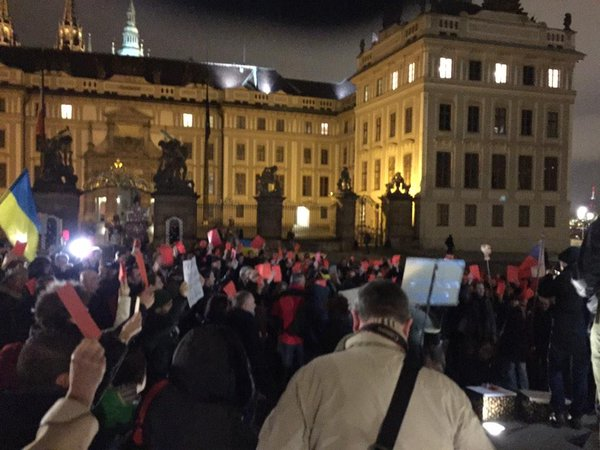 Rally in Prague, approx 200 people.