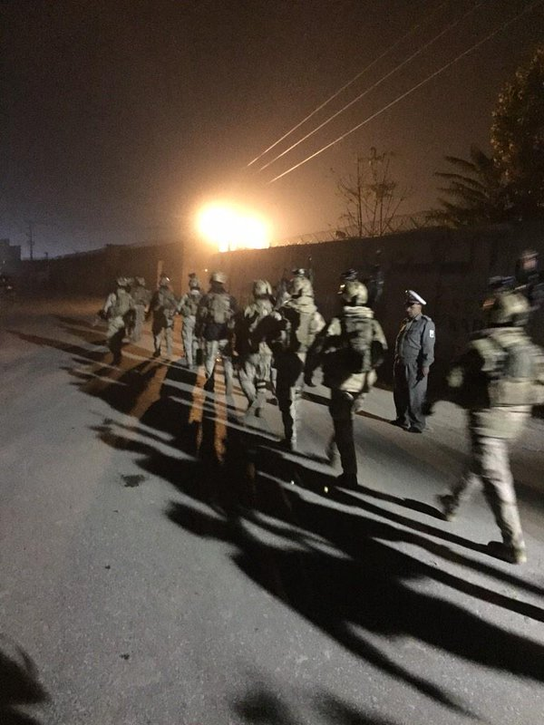 Afghanistan Special Forces & Police clearing Kabul Green Zone village after attack.